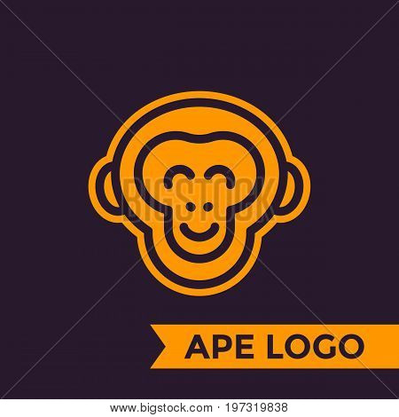 ape, chimp logo element, linear style, eps 10 file, easy to edit