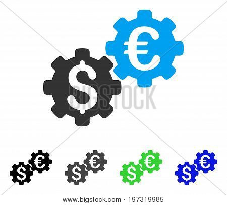 Financial Mechanics flat vector illustration. Colored financial mechanics gray, black, blue, green icon variants. Flat icon style for graphic design.