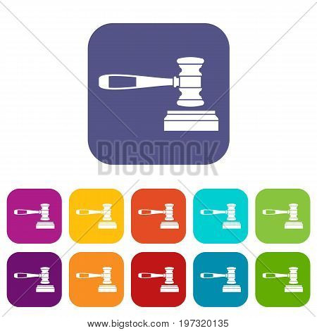 Judge gavel icons set vector illustration in flat style in colors red, blue, green, and other