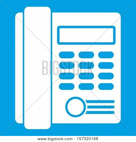Office business keypad phone icon white isolated on blue background vector illustration