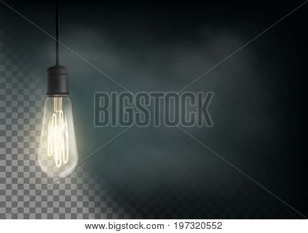 Vintage light bulb is glowing in the dark. Technology retro background. Stock vector illustration.