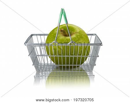 Organic granny smith apple  in wire supermarket basket on white