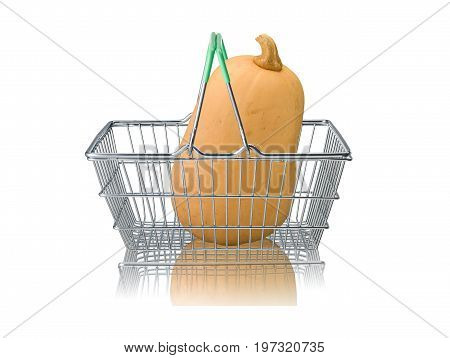 Organic butternut squash in wire supermarket basket on white