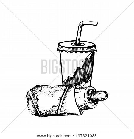 Hand Drawn Sketch of Soda Cup with Straw and Hot Dog. Vintage Sketch. Great for Banner Label Poster