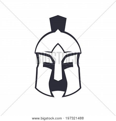 Spartan, greek helmet over white, eps 10 file, easy to edit
