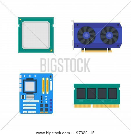 computer components icons, motherboard, memory, video card, CPU, vector illustration