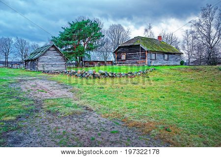 Old Buildings At Ethnographic Open Air Village Of Riga Baltic