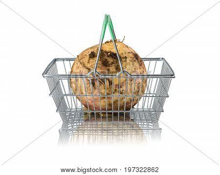 Organic purple turnip in wire supermarket basket on white