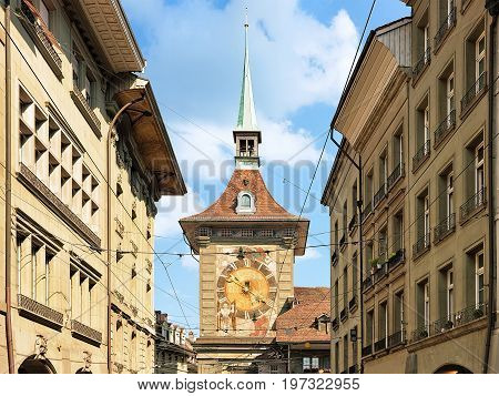 Kramgasse Street With Facade Of Zytglogge Bern Swiss