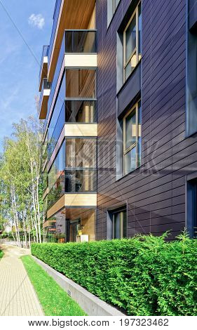 Modern Glass Residential Building And Birch Trees