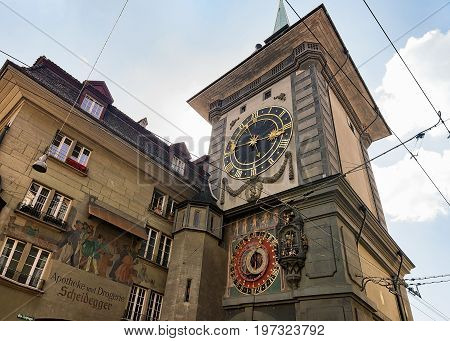 Facade Of Zytglogge Clock Tower In Bern