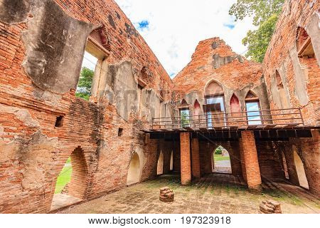 Old ancient ruin of Kham Yat Palace ancient city tourist attraction in Ang Thong Thailand