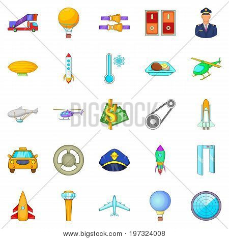Arrival in the city icons set. Cartoon set of 25 arrival in the city icons for web isolated on white background