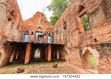 Old ancient ruin of Kham Yat Palace ancient city tourist attraction in Ang Thong, Thailand