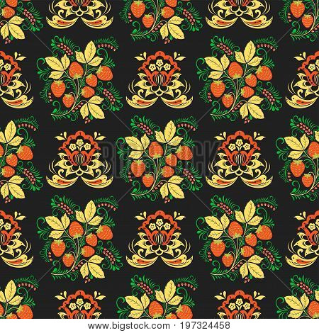 Vector khokhloma seamless pattern design traditional Russia drawn illustration ethnic ornament painting decoration objects, elements for poster, banner, print, logo, advertisement design.