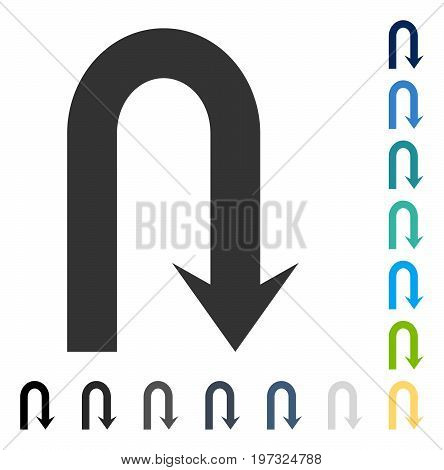Turn Back icon. Vector illustration style is flat iconic symbol in some color versions.