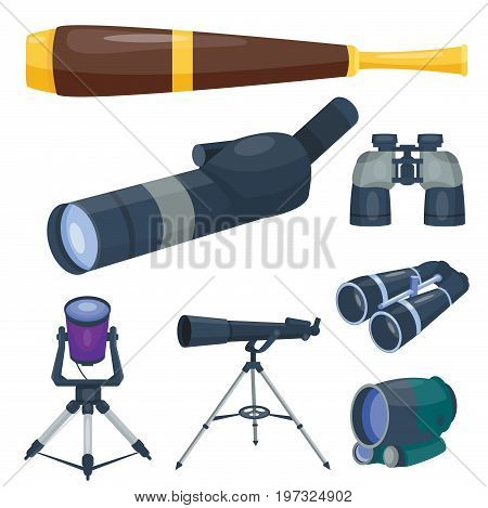 Professional camera lens binoculars glass look-see spyglass optic device camera digital focus optical equipment vector illustration. Lorgnette night-vision technology look-see instrument.