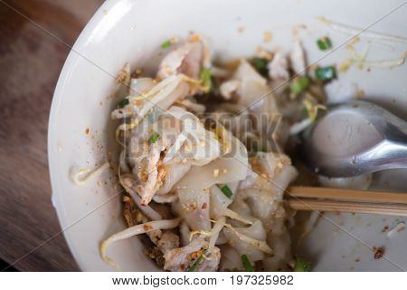 Dry rice noodles. Thai noodle top view
