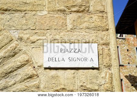 Piazza Della Signoria Street Sign On Wall Of Florence