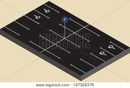 Isometric parking with sign and place for invalids in vector