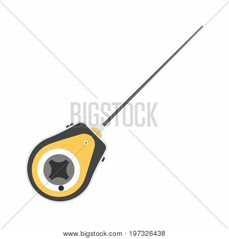 Vector illustration of fishing reel on white background. Fishing equipment and fish farming topics.