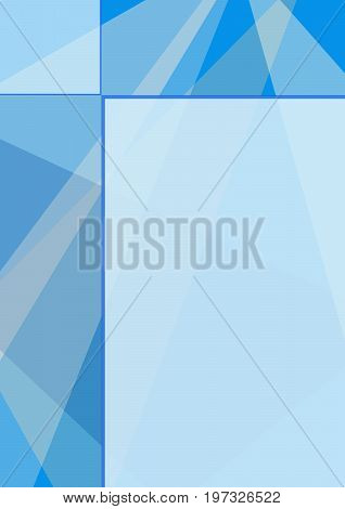 Geometric abstract blue background with text place, technology template. Layout modern design for covers, magazines, brochures, leaflets, booklets, prospectuses, annual reports, posters. EPS10 vector illustration, size A4