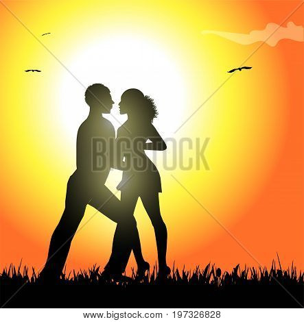 dance couple in the sunset vector design