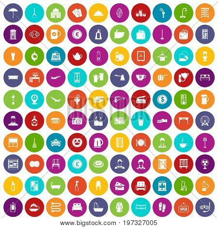 100 inn icons set in different colors circle isolated vector illustration