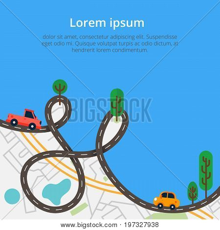 Colorful background with landscape road and city map. Top view city map with cars and trees for web banners info graphic and brochure. Vector illustration