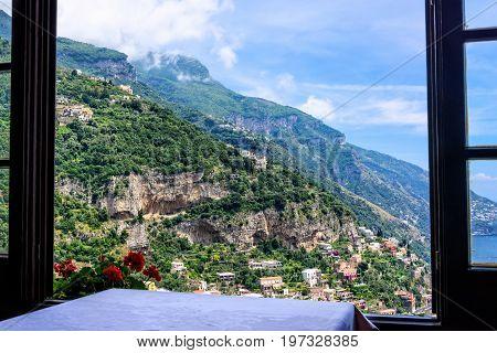 Window overlooking the Amalfi Coastline in Positano Italy