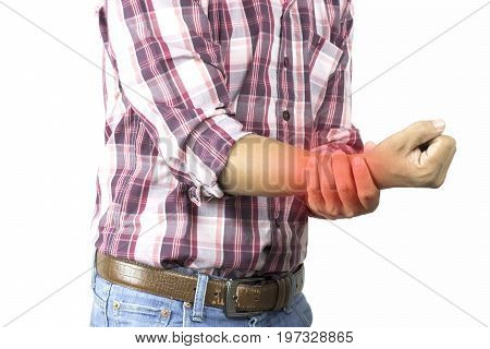 construction worker has suffering from pain in hand severe arm ache wrist attack on white background