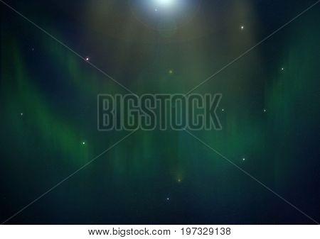Green Polar Glow With Stars, Digital Illustration