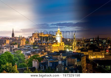 Edinburgh goes from day to night in a time lapse image