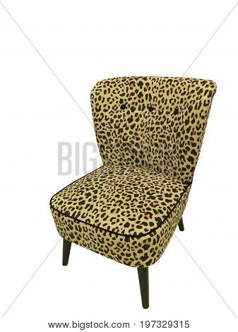 Upholstered chair with wooden legs isolated on white background.