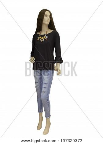 Full-length female mannequin dressed in brown blouse and blue jeans isolated on white background. No release required. No brand names or copyright objects.