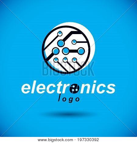 Vector abstract technology circuit board. High tech digital scheme of electronic device. Technology microchip logo.