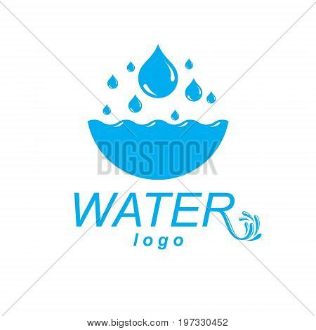Pure water vector abstract logotype for use in mineral water advertising. Human and nature harmony concept.