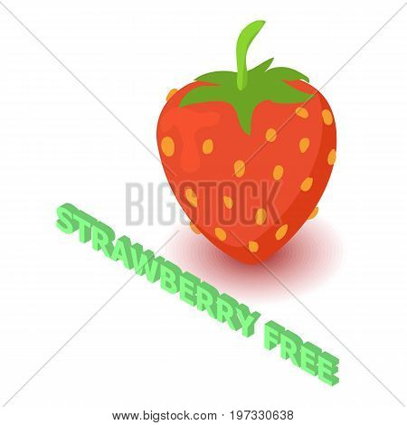 Strawberry allergen free icon. Isometric illustration of strawberry vector icon for web design