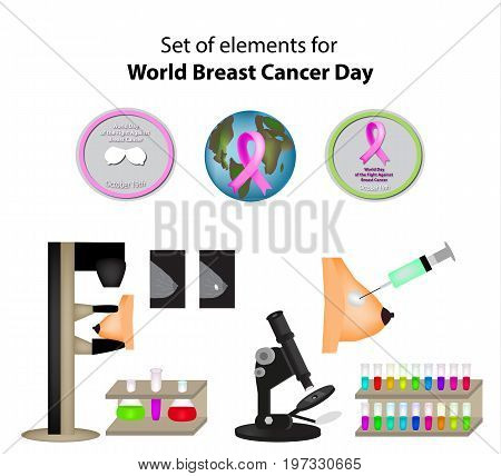 A set of elements for World Breast Cancer Day. Mammography. Infographics. Vector illustration on isolated background
