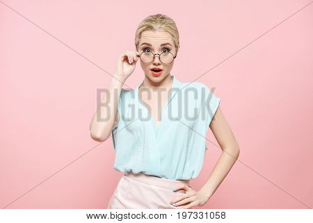 Young female fashion lookbook model style concept eyeglasses