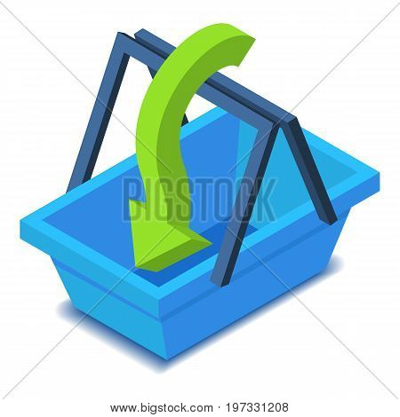 Shopping basket with green arrow icon. Isometric illustration of shopping basket vector icon for web design