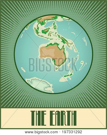 Vector flat globe of the Earth with Australia side. Made in pop art comic book retro style with Ben-Day dots. With a few gradients and transparencies.