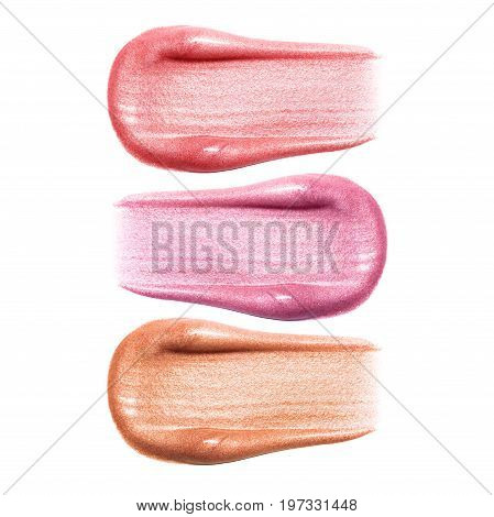 Set of different lip glosses smear samples isolated on white. Smudged makeup product sample