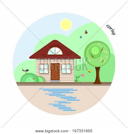 Vector flat house in spring season. A beige cottage with a dark red roof, two casual windows and an attic window. With a tree, butterflies and a bird. The shadows made with transparencies.