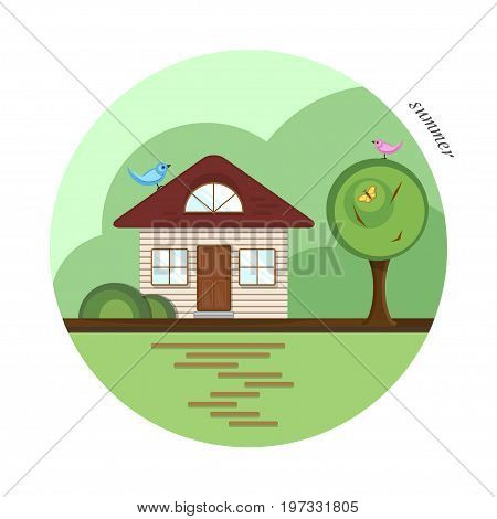 vector flat house summer season vector photo bigstock