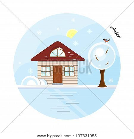 Vector flat house in winter season. A beige cottage with a dark red roof, two casual windows and an attic window. With a tree and a bird. The shadows made with transparencies.