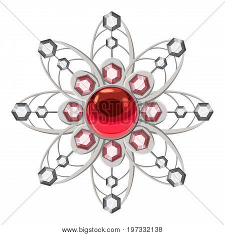 Brooch with ruby icon. Cartoon illustration of brooch with ruby vector icon for web design