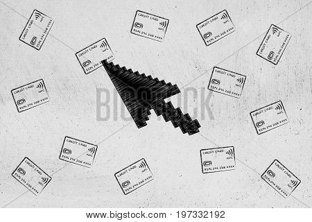 Mouse Pointer Clicking On One Credit Card Out Of A Group