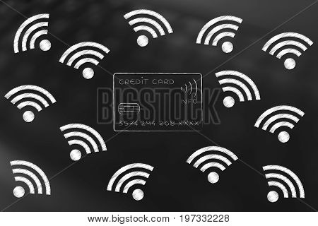 Credit Card Surrounded By Flying Wi-fi Symbols