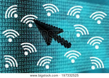 Pointer Selecting One Wi-fi Connection Symbol Out Of A Group